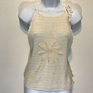 Vintage Flower Power Crochet Shirt Sz Large